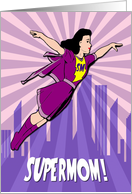 Supermom Flying Through the Sky with Sunburst for Mother's Day card