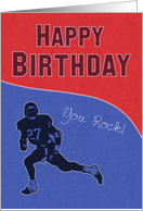 Denim Texture with White Stitching Football Player for Birthday card