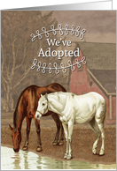 Vintage Horse Adoption Announcement with Two Horses card