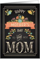 Retro Chalkboard Mother's Day with Flowers and Peach Banner card