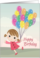 Cartoon Girl in a Pink Dress Running with Balloons for Birthday card