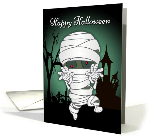 A Zombie Dressed Up Like A Mummy For Halloween Card 1385372