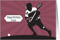 Lacrosse Player with Sunburst for Lacrosse Coach Birthday card