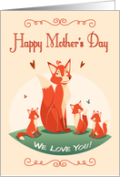Retro Mother Fox with Her Kits for Mother's Day card