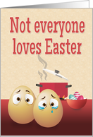 Scared Eggs with Boiling Pot and Easter Eggs for Funny Easter card
