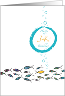 Happy 34th Birthday, Gold Fish, Witty, Elegant, Cute, Colorful Design card