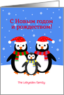 Christmas new year penguins russian custom text card