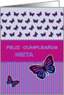 Happy Birthday spanish granddaughter butterflies card