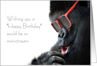 Hipster Birthday Card with a Gorilla - Uterus Independence Day card