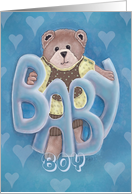 Welcome Baby Boy Teddy Bear card done with blue hearts card
