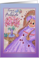 Time for Friends with tea party invitation with bunny,bird, tea cup card