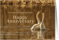 Happy Swans on a Golden Pond Aunt and Uncle Anniversary card