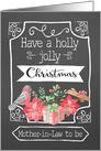 Future Mother-in-Law, Holly Jolly Christmas, Bird, Poinsettia card