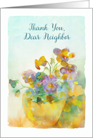 Thank you, Dear Neighbor, Pansies, Watercolor Painting card