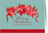 Merry Christmas to my Son and his Family, Poinsettias card