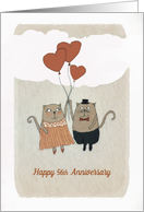 Happy 56th Wedding Anniversary, Two Cats, Heart Balloons6 card