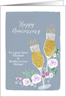Sister and Brother-in-Law, Customizable, Happy Wedding Anniversary card
