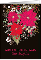 Dear Daughter, Merry Christmas, Poinsettias, Floral card
