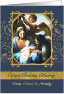 Aunt and her Family Christmas Blessings, Nativity, Gold Effect card