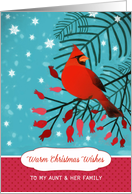 To my Aunt and her Family, Warm Christmas Wishes, Cardinal, Berries card