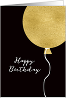 Happy Birthday Card, Gold Glitter Foil Effect Balloon card