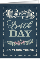 45 Years Young, Happy Birthday, Retro Design, Green Background card