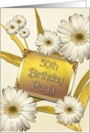 50th Birthday party invitation with daisies card