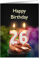 26th birthday with candles card