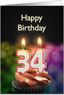 34th birthday with candles card