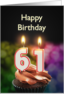 61st birthday with candles card