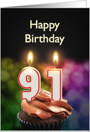 91st birthday with candles card