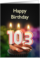 103rd birthday with candles card
