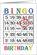 55th Birthday Bingo card
