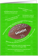 26th birthday, awfull football jokes card