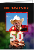 Add your photo, 50th birthday party with candles and cupcake card