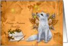 Birthday in Autumn/Fall to Daughter-in-Law, mystical fox with wings card