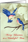 Christmas to Mom Card with Beautiful Blue Birds One has an Ornament card