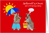 Invitations to School's Out Party, general, cute raccoons, hot sun card