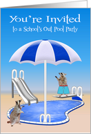 Invitations to School's Out Pool Party, general, Raccoons, pool side card