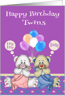 Birthday for twins, girl and boy, cute bears with blankets, balloons card