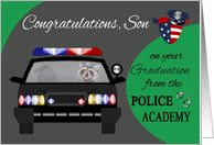 Congratulations to Son on graduation from Police Academy, raccoons card
