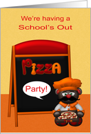 Invitations to School's Out Pizza Party, general, cute chef,menu board card