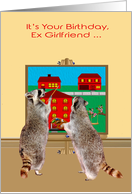 Birthday to Ex Girlfriend, two adorable raccoons painting the town red card