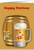 Festivus, general, a decorated mug of beer with a mini keg card