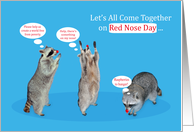 Red Nose Day, general, June 12, adorable raccoons wearing red noses card