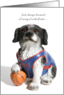 Christmas Sports Theme with a Dog with his Paw on a Basketball card