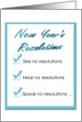 New Year's Resolutions, A humorous list of resolutions card