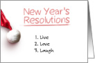 New Year's Resolutions A Heartfelt Message on White with a Santa Hat card