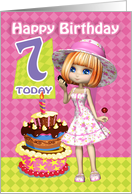 7th Birthday Card Pretty Trendy Little Girl And Cake card