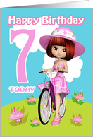 7th Birthday Card Pretty Little Girl On A Bicycle With Cupcake Flowers card